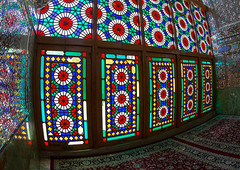 stained glass windows in the shah-e-cheragh mausoleum, Fars Province, Shiraz, Iran (Eric Lafforgue) Tags: sunlight abstract window glass horizontal architecture religious photography glasses mirror design persian shrine colorful pattern colours iran patterns islam traditional religion decoration middleeast persia nobody nopeople mosque holy indoors mausoleum shiraz colourful orient hafez illuminate glasswork shiite elaborate persiangulfstates  mirrorwork  16127 colourimage  iro sayyedmirahmad  farsprovince aramgah westernasia