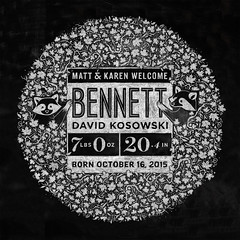 Bennett Announcement (Kyle J. Letendre) Tags: baby illustration typography design chalk leaf maple pattern board announcement type organic lettering raccoon custom chalkboard announce filigree patterning