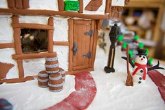 Gingerbread house and some Ale! (ineedathis, the older I get, the more fun I have!) Tags: door snow window stairs handle miniatures baking snowman modeling path barrels bricks entrance nails lamppost frame icing ironwork gingerbreadhouse edible flowerpots 1485 gelatin gumpaste woodendoor sugarwork hinches christmas2015 nikond750 antiqueshardware