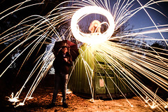 Wire Wool Spinning (ReevesWild) Tags: wire wirewool longexposure exposure photography cool fire spark flame