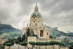 Shrine of Christ the King (Richard Adams Photography) Tags: shrine christtheking messina italy religion architecturalexterior architecture building outdoor church cross hills cloud storm statute