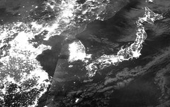 East Asia at Night, 27 January 2017 (sjrankin) Tags: 2february2017 edited nasa suominpp night citylights grayscale japan hokkaido honshu shikoku okinawa kyushu korea koreanpeninsula northkorea southkorea china russia pacificocean seaofjapan eastchinasea sakhalinisland eastasia 27january2017