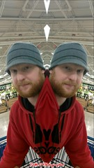 The Splitting of Crazy Dan (PhotoJester40) Tags: indoors inside male crazydan dan atwork posing splitting beard ginger hat mirrorimage amdphotographer