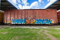 (o texano) Tags: houston texas graffiti trains freights bench benching lakai emork