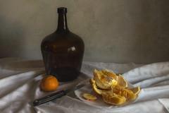Orange and Jug (suzanne~) Tags: stilllife bodegón orange tangerine mandarine jug painterly indoor knife texture tabletop
