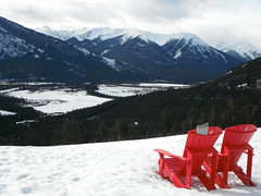 Banff2017 014 (Mr. Happy Face - Peace :)) Tags: yyc albertabound bench art2017 rockies canada150 cans2s hbm mondaybench red