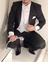 white-tie-shower-1_10300246336_o (shinydressshoes) Tags: tails tailcoat tuxedo suit muddy gunge wet shiny shoes shinyshoes leather patent dressshoes groom wedding whitetie frack formal shower lackschuhe lackschuh