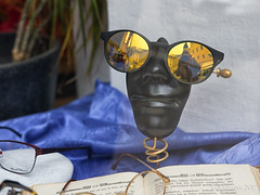 reflected SELF surreal (lunaryuna) Tags: austria salzburg shopwindow optometristshop glasses brillen optiker reflections selfreflection funny urban city walkinthecity lunaryuna fun