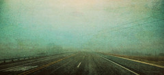 Only (flowerweaver) Tags: densefog morning highway only stripes serene vanishingvanishpoint mysterious minimalistic aqua lines austere moody road