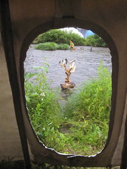 Antler in the River (emilyborhi) Tags: river water tipi antlers wood culpture abstract sculpture open mind festival 2013 psychedelic hippie psytrance montreal nature forest rain