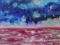 The Ice Is Thin, Come On Jump In (BKHagar *Kim*) Tags: bkhagar art artwork painting paint acrylic canvas board sky ocean water sea clouds impressionist