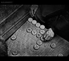 The Strategist II (KSGarriott) Tags: ksgarriott scottgarriott olympus omd em5ii 1240mm china shanghai culture game strategy player hands boardgame compete hobby age oriental xiangqi board monochrome blackandwhite bw texture
