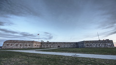 Fort Adams, Newport, RI (iecharleton) Tags: fortadams newport rhodeisland coastalfort artillery historical fortadamsstatepark statepark hdr desaturated flickrfriday sky architecture fort fortress