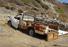DECAY (Des Hawley,) Tags: rot beach nature rotting beautiful car greek cool rust outdoor decay gorgeous pickup olympus greece crete wreck rethymnon deshawley