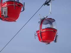Red Cable Cars (Photo Everywhere) Tags: winter red holiday snow europe empty alpine cables wires cablecar chairlift bubblecar relecabne