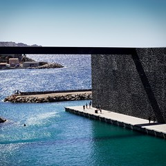 Mucem (Clinexpat) Tags: bridge blue shadow sea people art geometric water square outside marseille angle walk platform shining musem moucharabieh