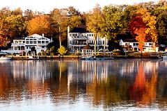 Fall reflection (Benny2006) Tags: autumn house lake color tree fall colors leaves season boat leaf dock