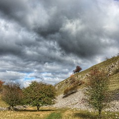 Horseshoe Dale, Derbyshire. (scott.simpson99) Tags: autumn trees camp clouds walking outdoors cycling countryside dale derbyshire peakdistrict trail cave bakewell scencic chelmorton iphone6