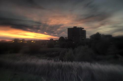 Grosseto - suburban sunset on Ombrone river bank