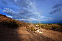 Cross at Grotto Hill (crowt59) Tags: blue sunset arizona sky del nikon san cross tucson hill mission grotto xavier bac d810 crowt59 nikonflickraward