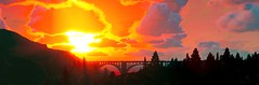 Grand Theft Auto V (ConnecteD\_) Tags: grand theft auto v gta sky clouds mountains bridge trees sea ocean sunset forest screenshot panoramic panorama rockstar games outdoor