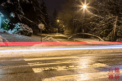 New Year's Eve - Snow and Lights (DragonSpeed) Tags: snow snowfall newyearseve burnaby bc canada trees streets nightphotography longexposure letitsnow winterwonderland itjustkeepsonsnowing snowcouver