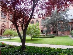 Claustro de la Catedral de Maguncia. (lumog37) Tags: claustros cloisters catedrales cathedrals arquitectura architecture gtico gothic gardens jardines fuente fountain