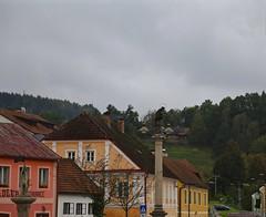 Gray Sky Over Rožmberk Nad Vltavou (smilla4) Tags: sky clouds buildings architecture sculpture rozmberknadvltavou czechrepublic