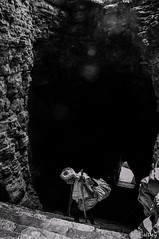 Hurdled ~ EXPLORED #411 (21-Dec-2016) (ujjal dey) Tags: ujjal ujjaldey oldman man hurdled temple steps stairs yaganti telangana andhra india monochorme blackandwhite struggle hardship