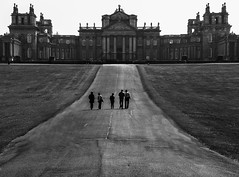 Blenheim (Nick Biswell) Tags: bccpoty2017round1alittlebitofhistory sony a100 tamrondt18270mmf3563 monochrome blackandwhite blenheinpalace pathway people visitors leadin walk walking walkers niksoftware silverefexpro