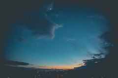 on my mind (viewsfromthe519) Tags: sky skyscape clouds sunset bluehour blue orange yellow golden silhouette moon sun cold winter stthomas ontario canada