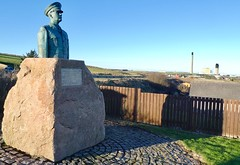 RAF Buchan Boddam Statue Commemorates RAF Buchan Over 52 Years  Of Service - Located At Boddam Just Outside Peterhead Scotland . (Dano-Photography) Tags: blue sky legends flying tribute walterawlson airman powerplant metalsculpture metalart respect neverforget hero restinpeace thankyou godbless remoteradarhead war ww1 ww2 lumix panasoniccamera statue boddamvillage rafboddam airdefenceradarunit remotehead bluetoon royalairforce lordlieutenant angusfarquharson samcoull bettymay rafbuchan raf publicsculpture monument sculpture aberdeenscotland aberdeenshire peterhead boddam dano bronzestatue publicart publicstatue