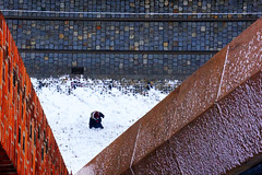 geometry of winter (jolanta mazur) Tags: street streetphotography candid pavement sidewalk church churchtower rails geometry geometria geometricshapes triangle lines parallellines diagonallines diagonals highvantagepoint highview birdseyeview