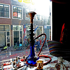 Delft, South Holland, Netherlands (pom'.) Tags: panasonicdmctz10 march 2011 restaurant delft southholland netherlands europeanunion iran persian persia iranian hookah bong bike bicycle waterpipe