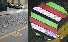 Wall installation by Ememem [Lyon, France] (biphop) Tags: europe france lyon streetart street installation ememem trottoir pavement mosaic mosaique carrelage rebouche trous