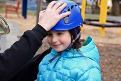Girl in blue jacket and arborist puts on helmet (Montgomery Parks, MNCPPC) Tags: treeclimbing woodsidepark january2017 2017