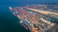 Landscape from bird eye view for Laem chabang logistic port (anekphoto) Tags: port container cargo china ship trade export shipping containers terminal transport singapore dock marine freight industry kong hong goods maritime business transportation commerce harbor delivery import boat logistics crane industrial sea white city loading storage truck laem chabang hub chonburi thailand fly sky top bird eye view drone air plane