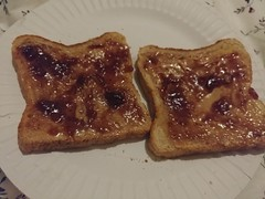 02Apr17  Peanut butter toast with raspberry jam.  An OLD standby from my past life when the pantry was nearly empty. Now a delicious comfort food treat.  Also, #JAM for #CF17 ! #photoaday #2017pad #peanutbutter #toast #raspberryjam #latergram