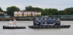 Thames Vixen + Under Armour promo (4) @ Gallions Reach 07-09-15 (AJBC_1) Tags: uk england london boat promo ship unitedkingdom vessel rover tugboat tug riverthames pontoon eastlondon underarmour rugbyworldcup gallionsreach nikond3200 northwoolwich newham prstunt londonboroughofnewham dlrblog livettsgroup ajc thamesvixen