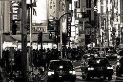 tokyo monochrome 28 (HACHIMAN.) Tags: bw white black monochrome car japan night tokyo shinjuku traffic taxi streetphotography