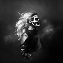 Ghost Anatomy (Sabine Fischer) Tags: selfportrait halloween monochrome skull ghost makeup surreal halloweencostume fineartphotography halloweenmakeup skullmakeup conceptualselfportrait conceptportrait