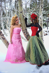 Double Deep Snow (All About Light!) Tags: christmas snow fashion glamour models pinkdress snowprincess arthurkochphotography greenandreddress
