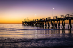 Sunset Jetty 3 (Norma Martiri) Tags: sun sunset jetty pier australia southaustralia adelaide largsbay largspier goldenhour bluehour gold blue beach bay sand sea