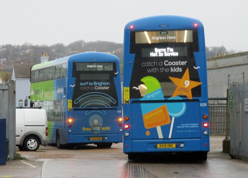 Brighton & Hove Buses Wright Streetdeck BX15ONN & BX15ONC in Newhaven 10 December 2016