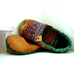 Slippers from my handspun yarns (B.eňa) Tags: handspun yarn crochet leather handmade handcraft slippers