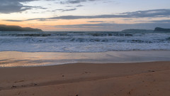 Daybreak Seascape (Merrillie) Tags: uminabeach sand sunrise nature australia mountains nswcentralcoast newsouthwales sea nsw beach clouds centralcoastnsw umina seascape photography water oceanbeach waterscape dawn landscape sky outdoors