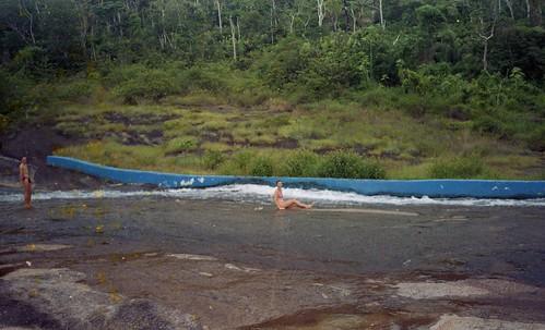 Deb halfway down the water slide