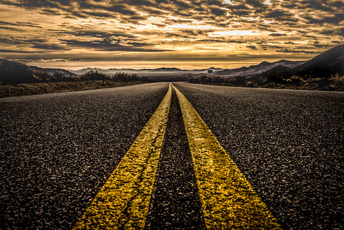 Desert Highway (Explored 16-2-2017) (mcalma68) Tags: desert highway road sunrise mountains clouds panoramic misty travel street low angle