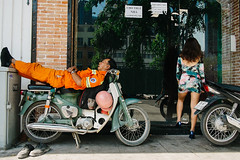 Ho Chi Minh City, Vietnam 2016 (f.d. walker) Tags: asia hcmc hochiminh hochiminhcity saigon vietnam streetphotography street sunlight shadow sun candidphotography candid color clothes colorphotography contrast colors city woman women window windows man men bike biker motorbike motorcycle sleep sleeping resting rest dress skirt