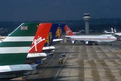 Virgin Atlantic 747 G-VGIN 'Scarlet Lady' (Longreach - Jonathan McDonnell) Tags: nikoncoolscanved scan scanfromaslide londongatwick 1980s 1987 boeing scarletlady virgin virginatlantic 747 747100 cathaypacific britishcaledonian egkk gvgin 747200 747200b 747243 747243b virginatlanticairwaysscarletlady
